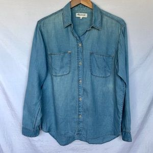 Madewell Ex-Boyfriend Denim Look Linen Top Medium